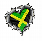 Ripped Torn Metal Heart Carbon Fibre with Jamaica Jamaican Flag Motif External Car Sticker 105x100mm